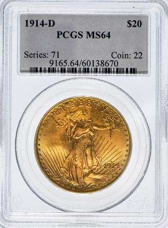 Dallas, Texas  Dec. 4, 2016  Rare graded Saint Gaudens 1914 D  double eagle gold twenty dollar piece. Stock Photo