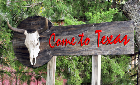 Come to Texas sign with old cow skull.