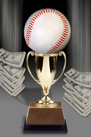 Baseball trophy and American Cash. Stock Photo