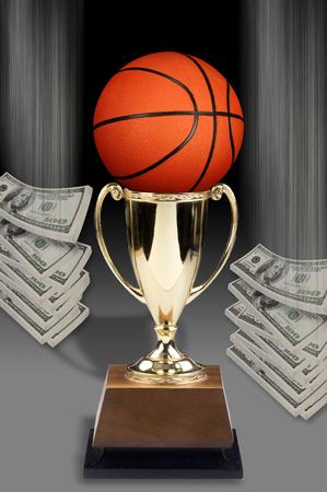 Basketball and American Money. Stock Photo