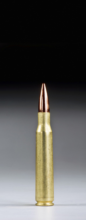 Fifty caliber bullet with room for your type. Stock Photo