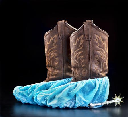 zapatos de seguridad: Botas de médicos tejano con espacio para su tipo. Foto de archivo