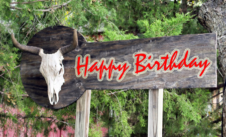 Happy birthday sign with old  cow skull.