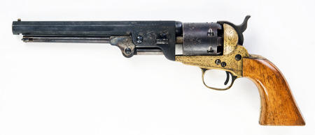 Old western cowboy pistol with room for your type. Stok Fotoğraf - 72263822