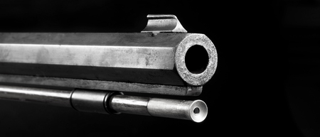 barrel bomb: Front end of old 50 caliber black powder riflein black and white with room for your type.