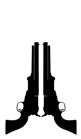 lawman: Silhouette of old western cowboy pistols with room for your type. Stock Photo