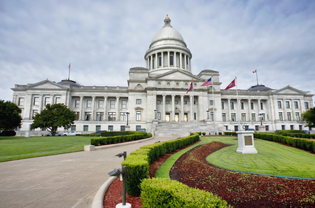Front view of the State Capital of Arkansas, in Little Rock Arkansas.