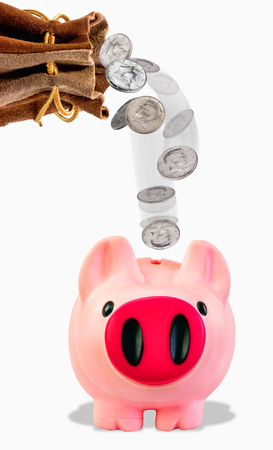 Pink piggy bank with silver coins falling.