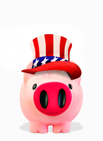Pink piggy bank with Uncle Sam hat and room for your type.