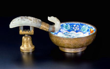 19th Century Chinese white  jade, cloisonne and gold wash brush washer.