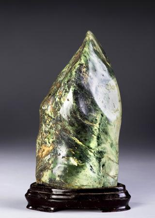 goodluck: 19th Century Chinese mythological mountain shape jade scholars rock. Stock Photo