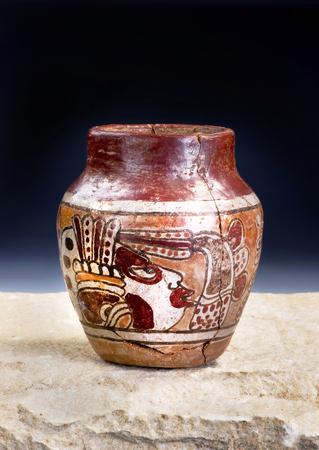 Mayan Pre Columbian warrior vase made around 600-1000 AD. Stock Photo
