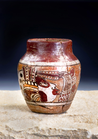pre columbian:  Mayan Pre Columbian warrior vase made around 600-1000 AD. Stock Photo