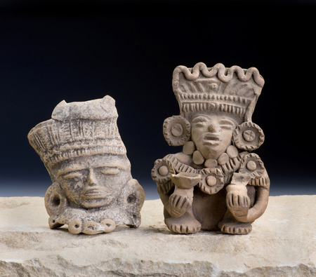 pre columbian: Mayan Pre Columbian warrior figurines made around 600-1000 AD. Stock Photo