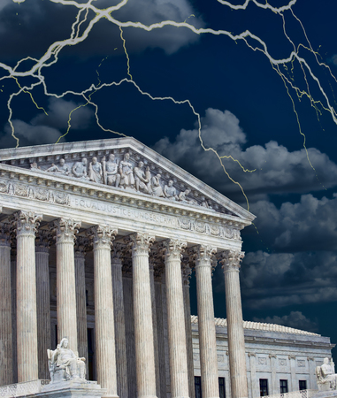 United States Supreme Court building in a storm. Stock Photo