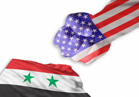 America is back and very strong against Syrian flag.