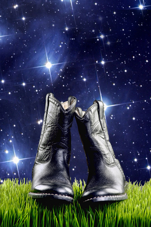 midnight: Black cowboy boots at star time with room for your type.
