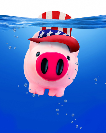 sam: American piggy bank under water with room for your type.