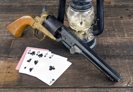 Dead mans hand , aces and eights in the old wild west.