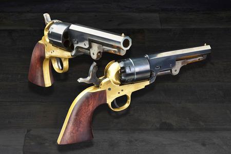 American wild west pistols called six shooters. Banco de Imagens - 78282673