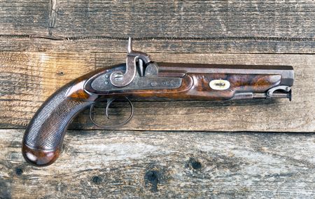 muzzleloader: Antique percussion pistol made around 1840 in Edinburgh,Scotland.. Stock Photo