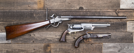 muzzleloader: Antique American Civil War era rifle and pistols made a from 1840-1863.