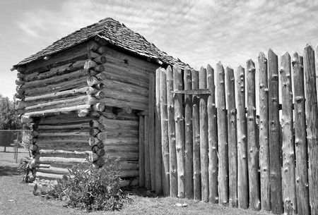 impregnable: Old Wild West fort in black and white.