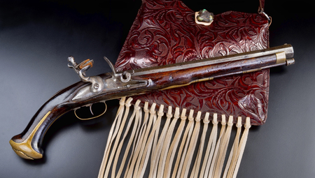 Antique French flintlock pistol made in the late 1700s. Stock Photo