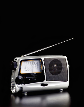 Old time portable radio with room for your type. 版權商用圖片