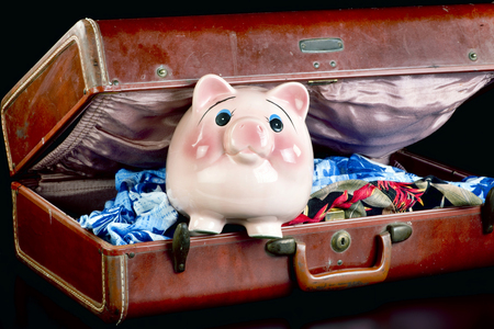 to unpack: Pink piggy bank packed and ready for the vacation. Stock Photo