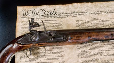 We the people with real flintlock pistol.