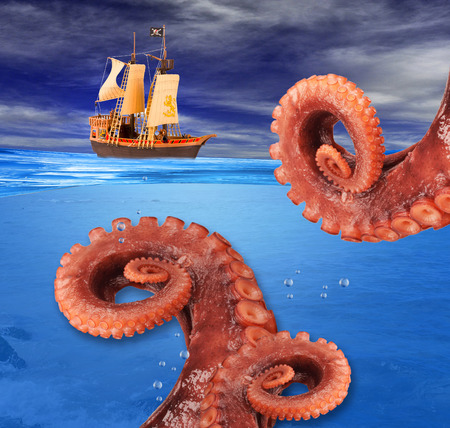 Octopus attacking pirate ship in ocean.