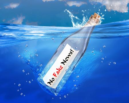 No fake news in a bottle. Stok Fotoğraf