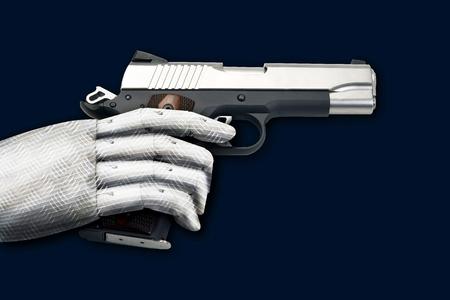 Semi-automatic handgun with robot like hand.