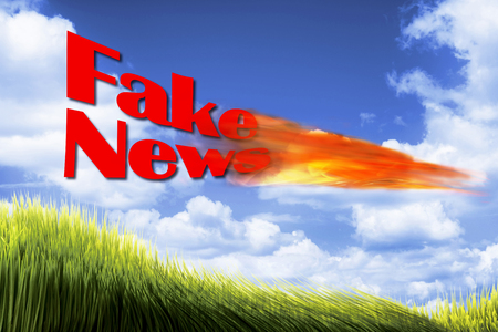 fake newspaper: Fake News with fire ball in blue sky. Stock Photo