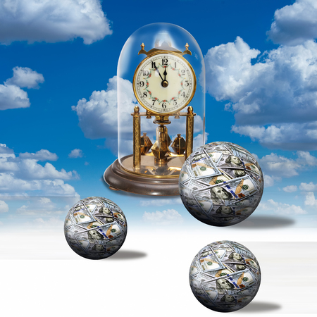 Clock time and money balls. Stock Photo