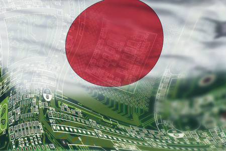 High Tech background of Japan with flag.