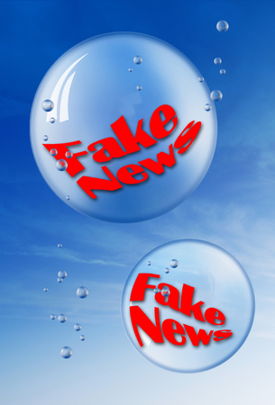 fake newspaper: The Fake news in bubbles.