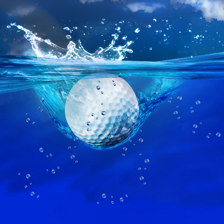 Golf ball splashes into water.