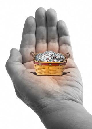 Small basket full of American cash.