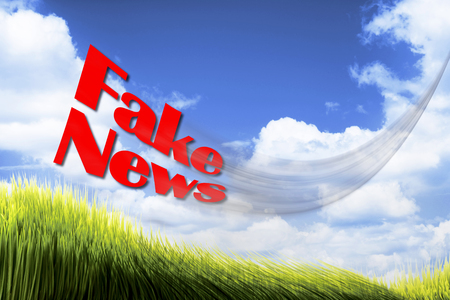 Fake news flying high and fast. Stock Photo
