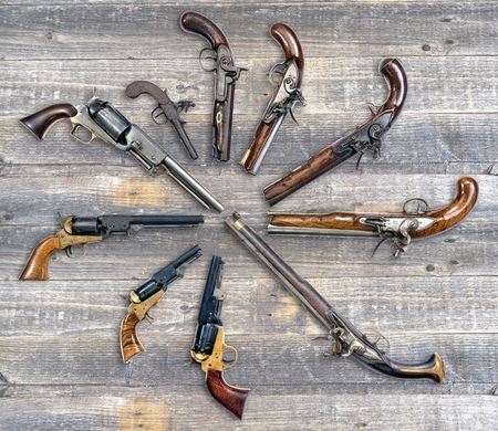 muzzleloader: Antique pistol collection, made from 1780-1860.