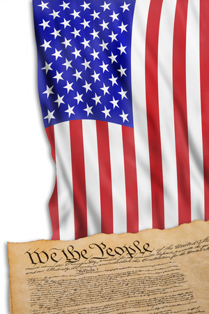 We the people with American Flag. Stock Photo