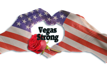 Las Vegas Strong with hand in heart shape.