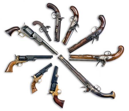 muzzleloader: Antique pistols collection Stock Photo