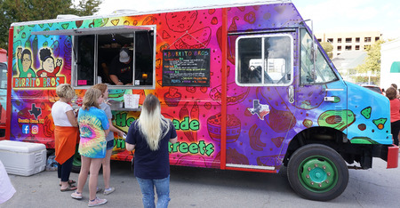 Fort Worth,Texas  Oct.21, 2017  Food truck at the trendy area of South side also called the Magnolia area in Forth Worth,Texas.