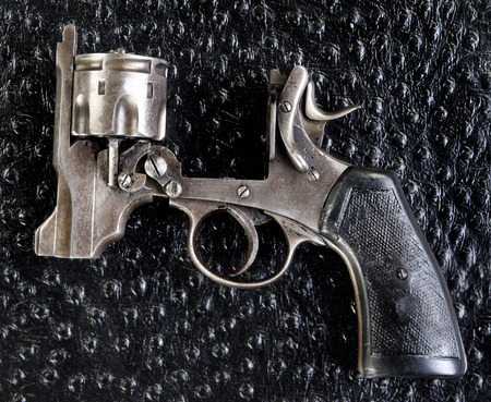 pistol made in 1917 used in World War 1, showing the open top.