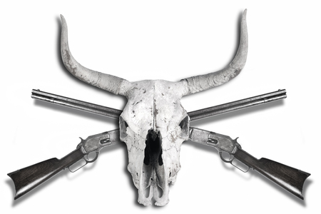 Antique cowboy lever action rifles and cow skulls in black and white,