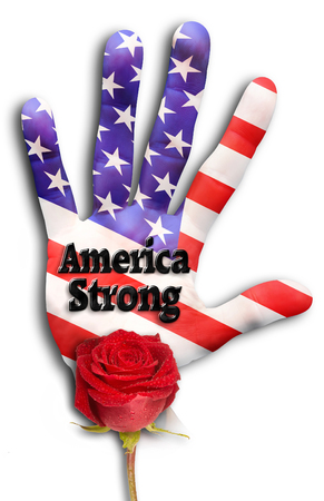 American Strong hand with red rose.