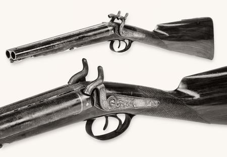 Antique cowboy double barrel shotgun.